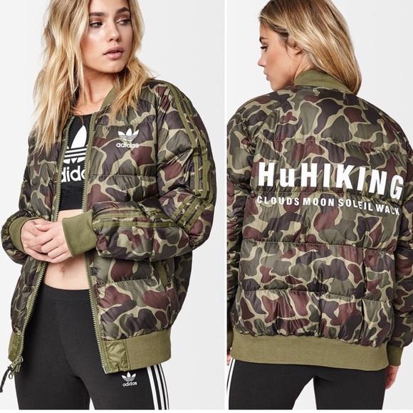Women s Adidas HU Hiking Camo Puffer Jacket Coat b830cc6865